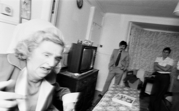 Enfield Poltergeist. Goings on at the Hodgson household in Green Street, Enfield. A brick hits the wall near Mrs Hodgson. 5th September 1977.