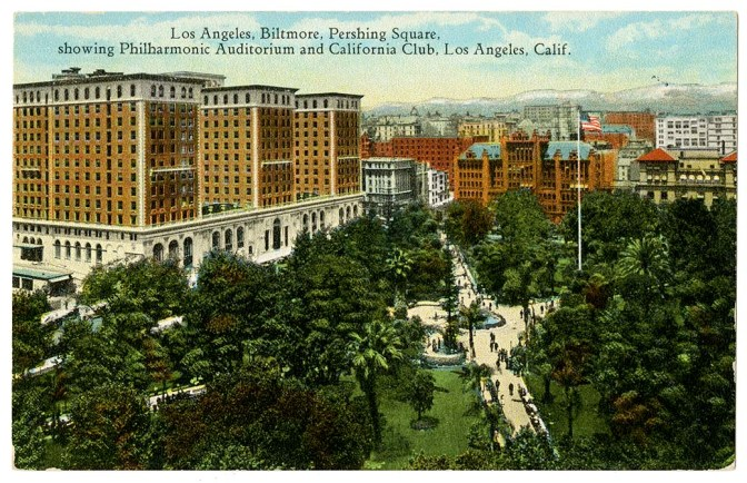 Los Angeles, Biltmore, Pershing Square, showing Philharm